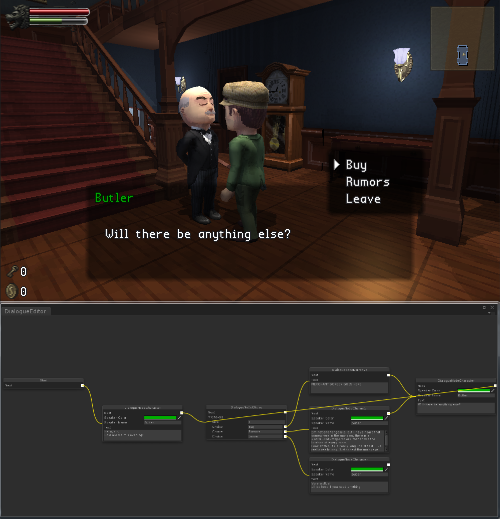 New Entrance Hall, Butler NPC using CostumeParts, and the new DialogueGraph system.